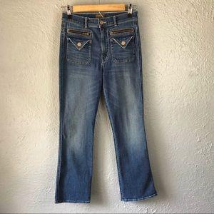 Mother Insider Crop Racing Hearts Denim Jeans 26